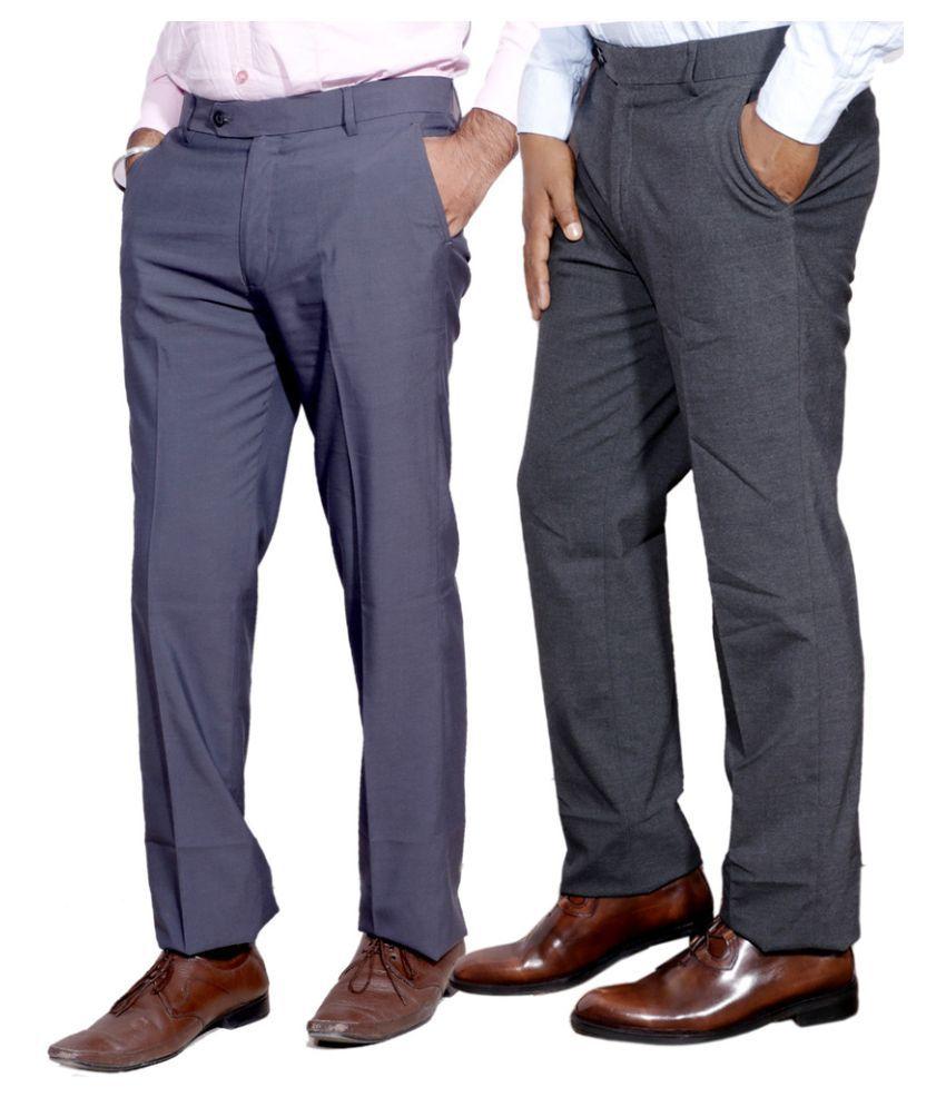 IndiWeaves Multi Regular Fit Flat Trousers Pack of 2