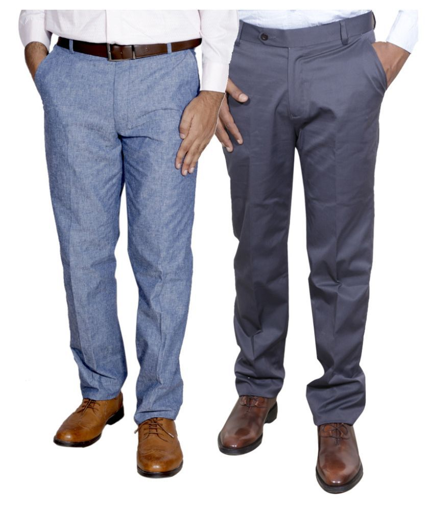 IndiWeaves Multi Regular Fit Pleated Trousers Pack of 2