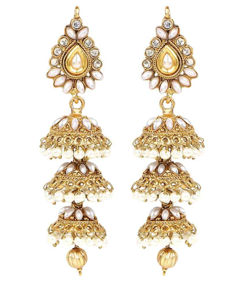 Johareez Alloy Gold Plating Stones Studded White Coloured Earrings