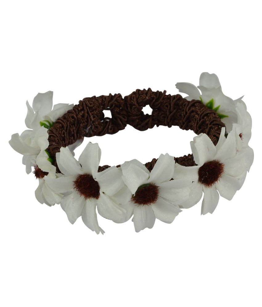 Sarah Fabric Oxidised Studded White Coloured Bracelet
