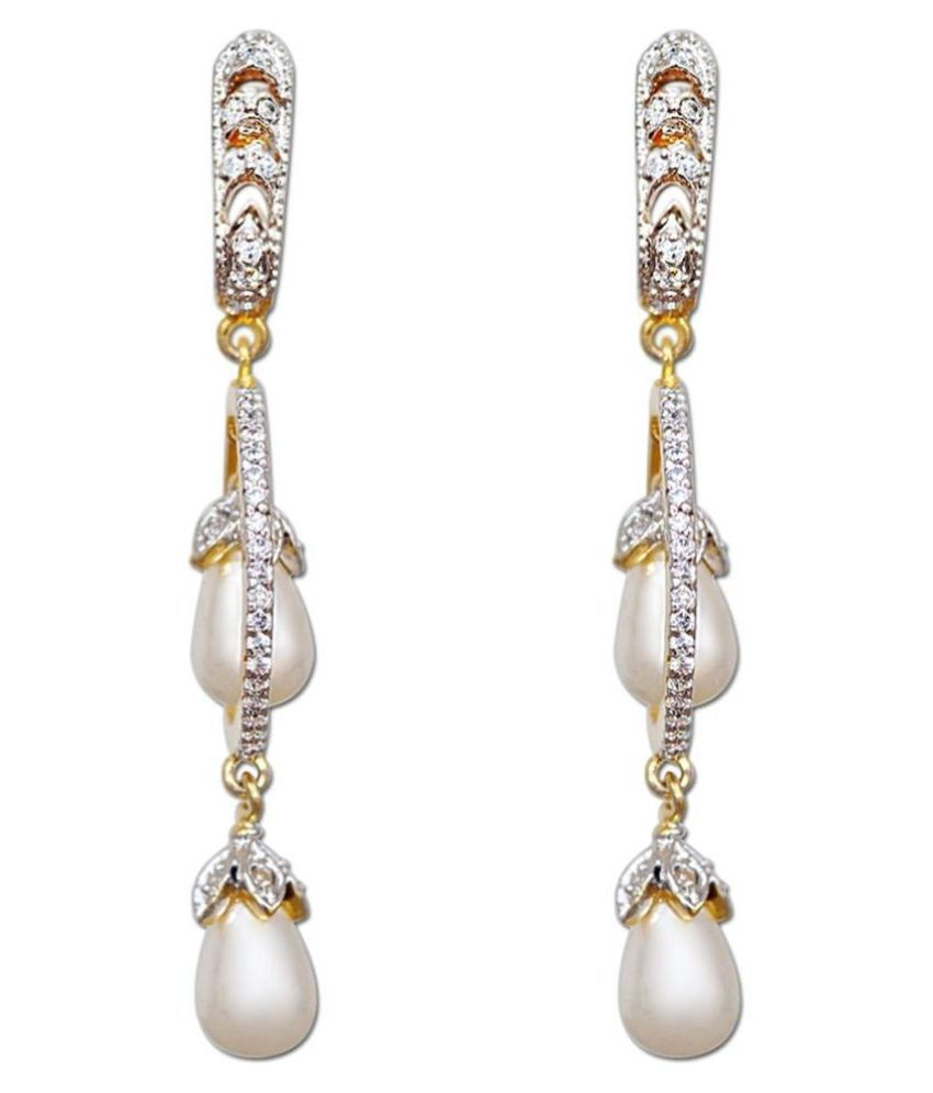 Enzy Alloy Gold Plating American diamonds Studded White Coloured Earrings