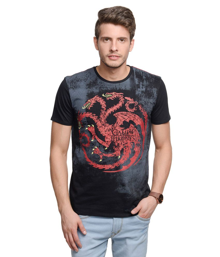 Game Of Thrones Black Round Neck Printed T-Shirt