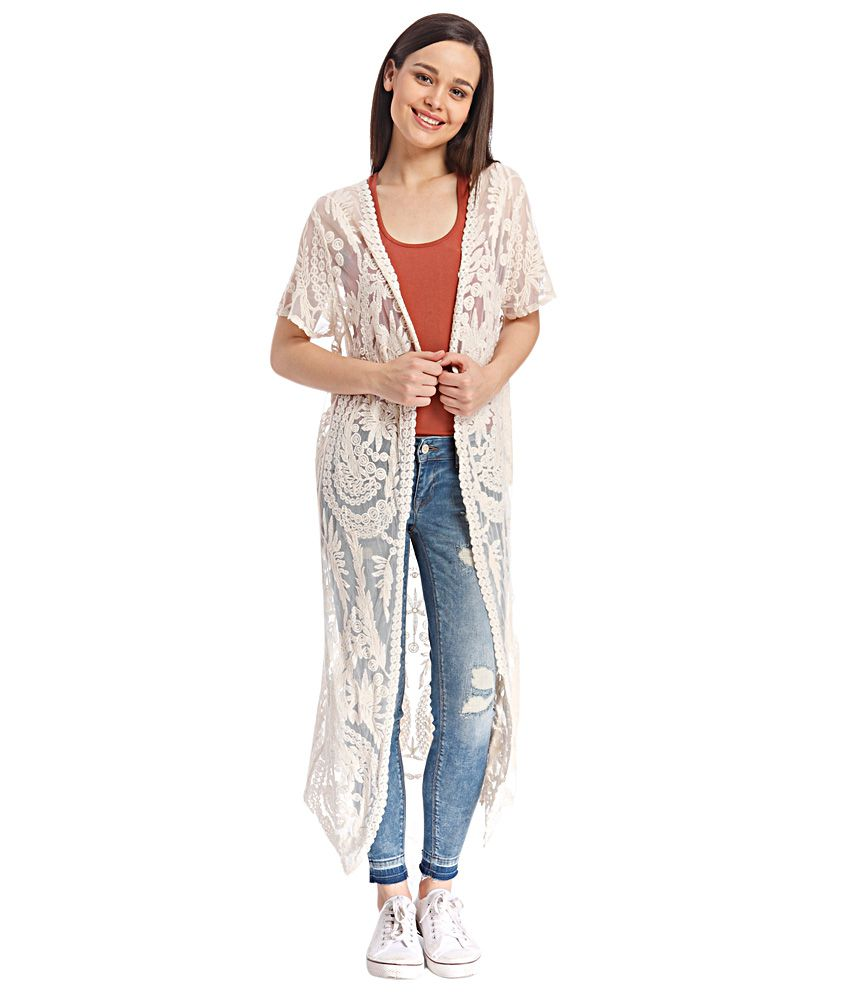 bec591b58 Buy ONLY Off White Embroidered Shrug Online at Best Prices in India -  Snapdeal