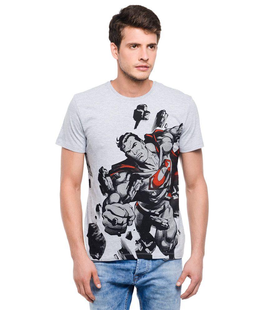 Superman Grey Round Neck T Shirt