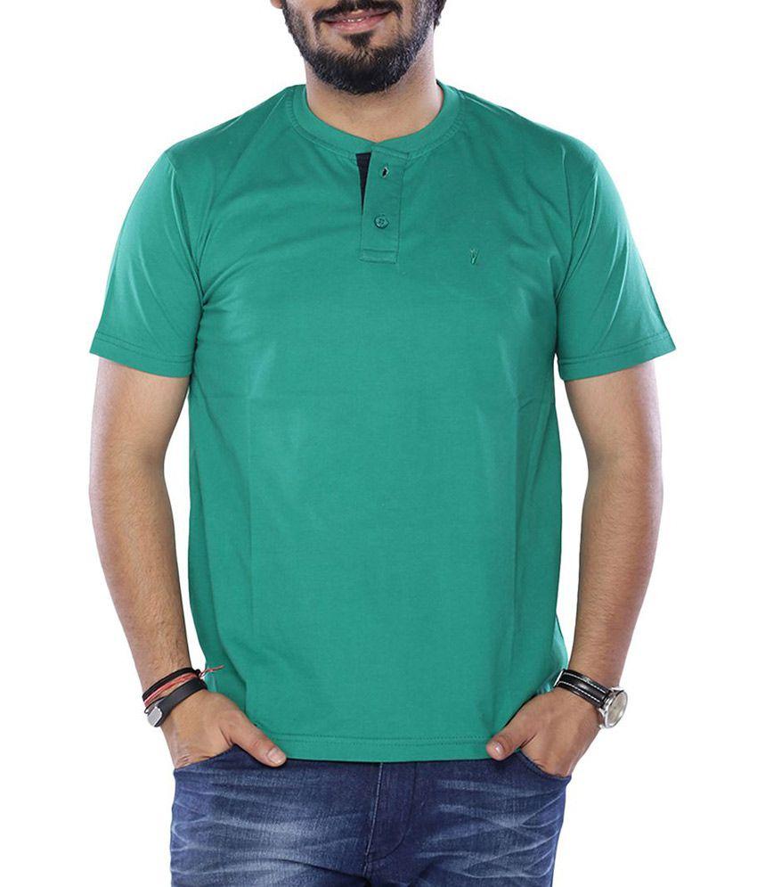 VIVEZA Green Round Neck Half Solids T-Shirt
