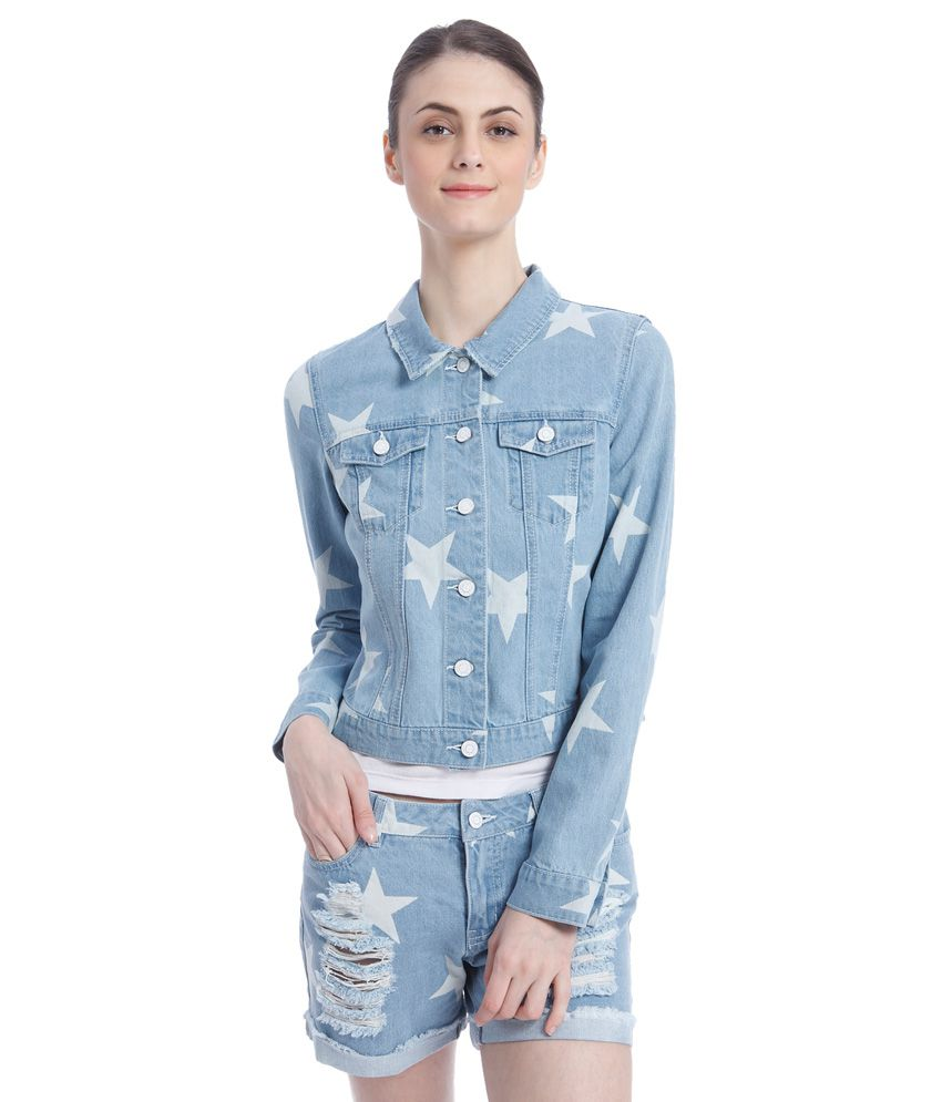 Buy Vero Moda Blue Printed Denim Jacket Online at Best Prices in ...