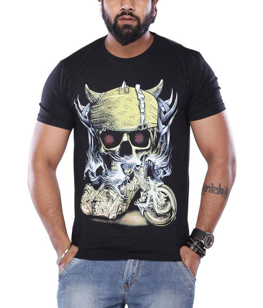 Vishal Black Round Neck Half Sleeves Printed T-Shirt