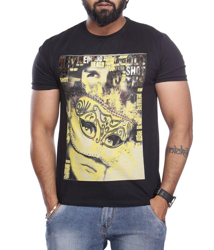 Vishal Black Round Neck Half Printed T-Shirt