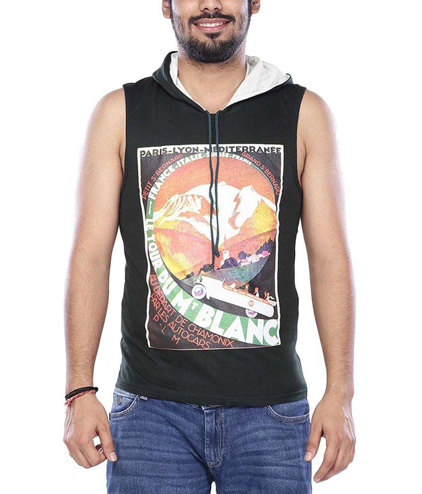 Vishal Green Half Printed Hooded T-Shirt