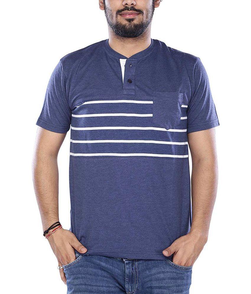 Viveza Blue Round Neck Half Stripers T-Shirt