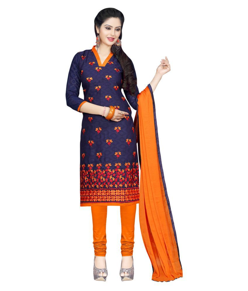 Apple Creation Navy Jacquard Straight Unstitched Dress Material