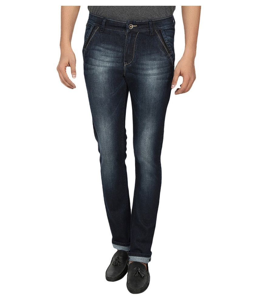 Fever Navy Slim Fit Washed Jeans