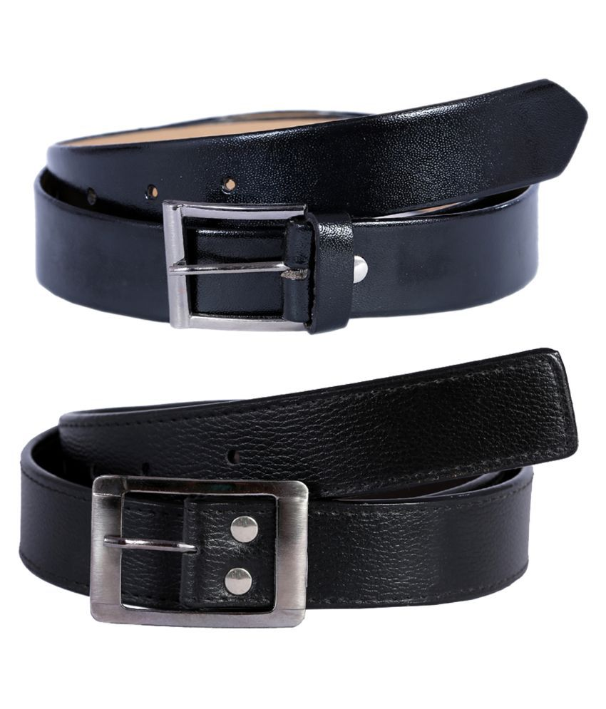 Hardy's Collection Black Pin Buckle Single Belt for Men - Pack of 2