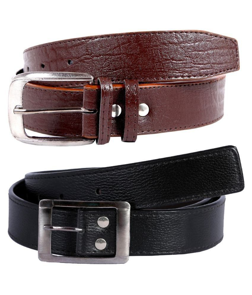 Hardy's Collection Multicolour Single Pin Buckle Belt for Men Pack of 2