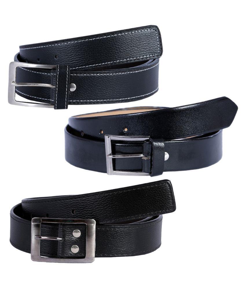 Kritika World Black Single Pin Buckle Belt for Men Pack of 3