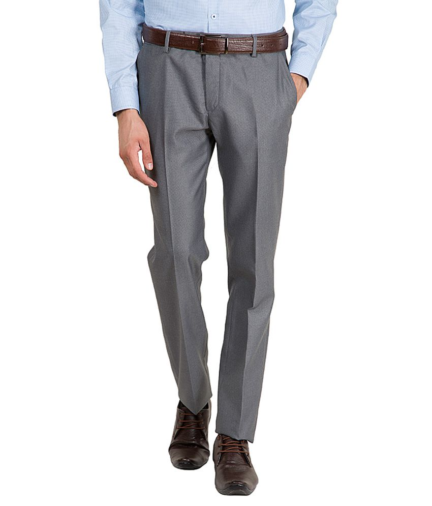 Black Coffee Grey Slim Fit Flat Trousers