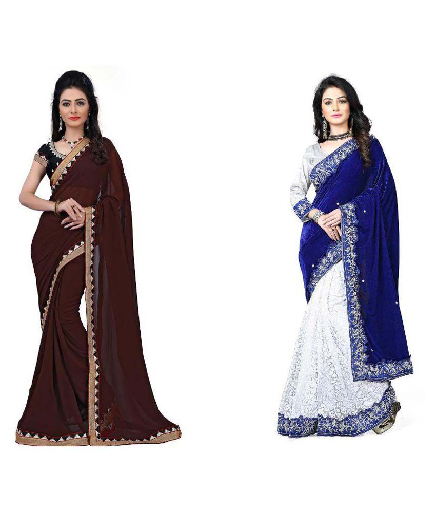 Sparkle Tradition Multicoloured Chiffon Saree Combos