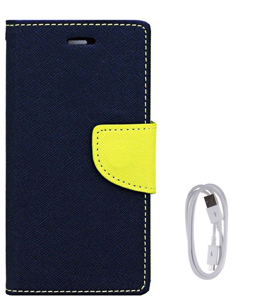 Avzax Flip Case Cover For Apple iPhone 6 (Blue) + Data Cable
