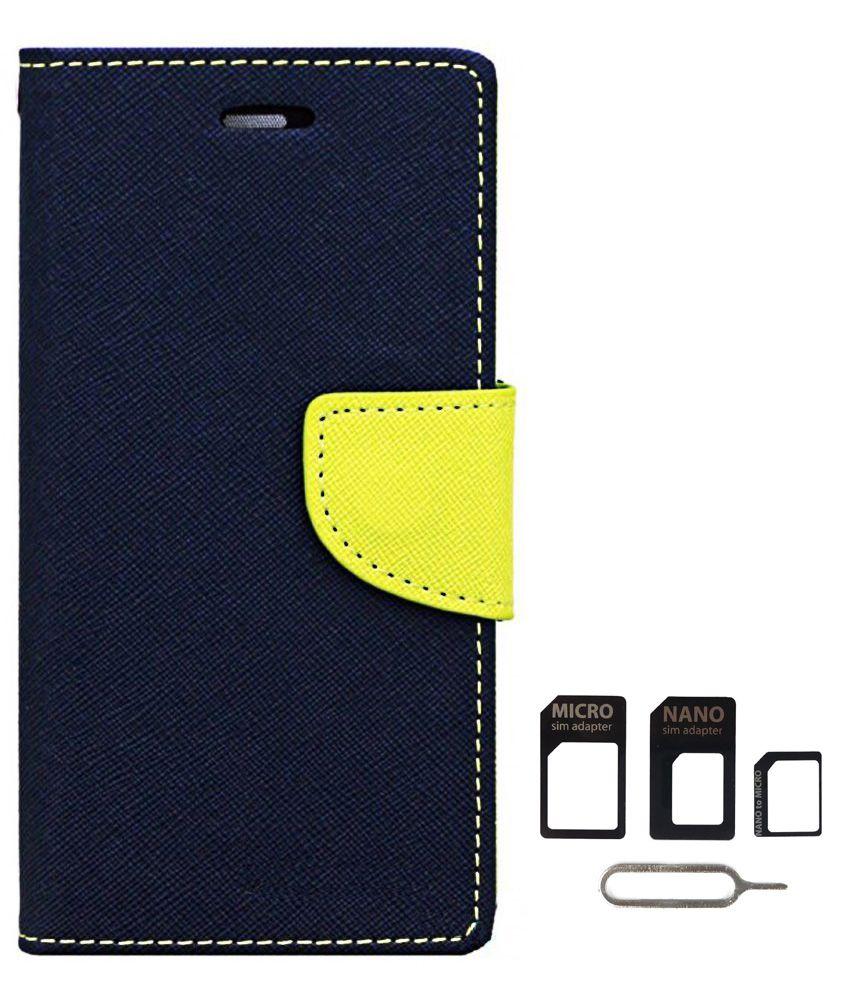 Avzax Flip Case Cover For Samsung Galaxy Core 2 SM-G355H (Blue) + Sim Card Adapter