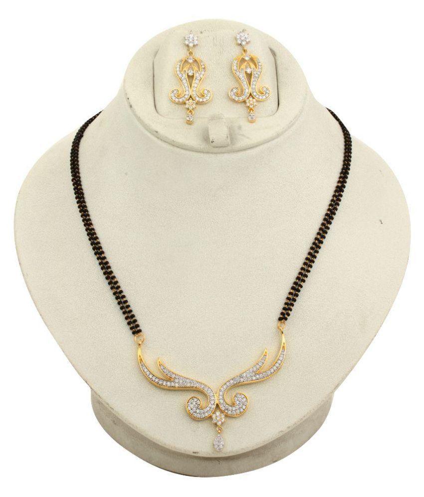 Dilan Jewels Alloy Gold Plating American diamonds Studded Multi Coloured Mangalsutra Set
