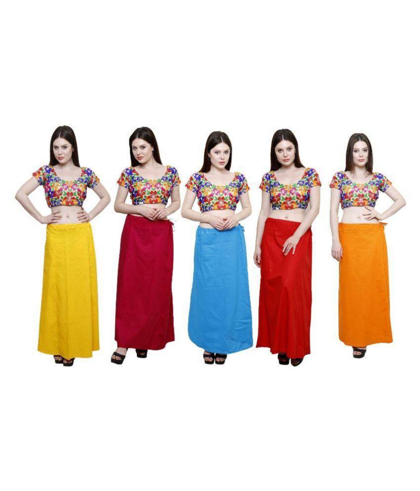 Efashion Multicoloured Cotton Petticoats - Pack of 5