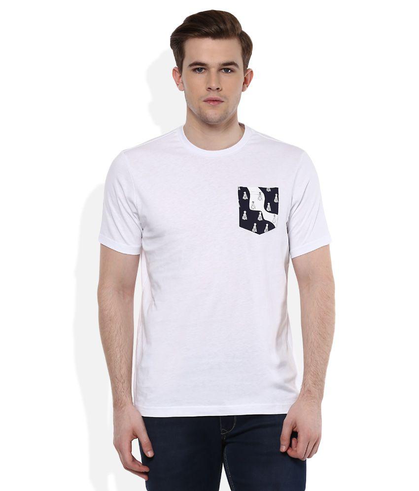 Giordano White Round Neck Half Sleeves Solids T-Shirt
