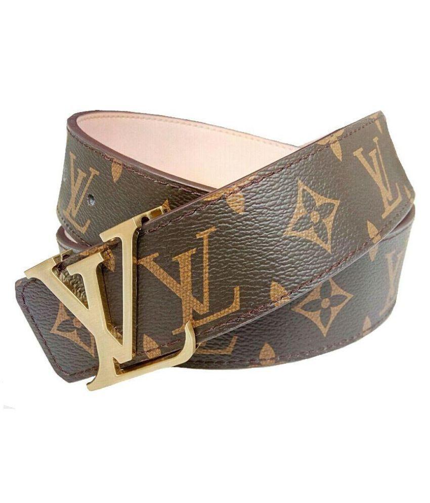 Rabbit Brown Leather Single Pin Buckle Belt for Men