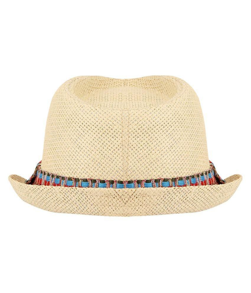 fdc4f2cb9c4 FabSeasons Beige Polyester Fedora Hat - Buy Online   Rs.