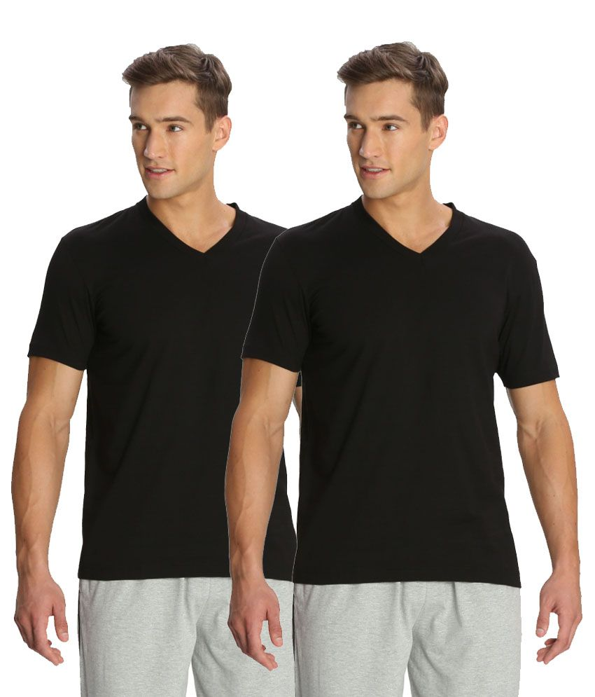 Jockey Black V-Neck T Shirt Pack of 2