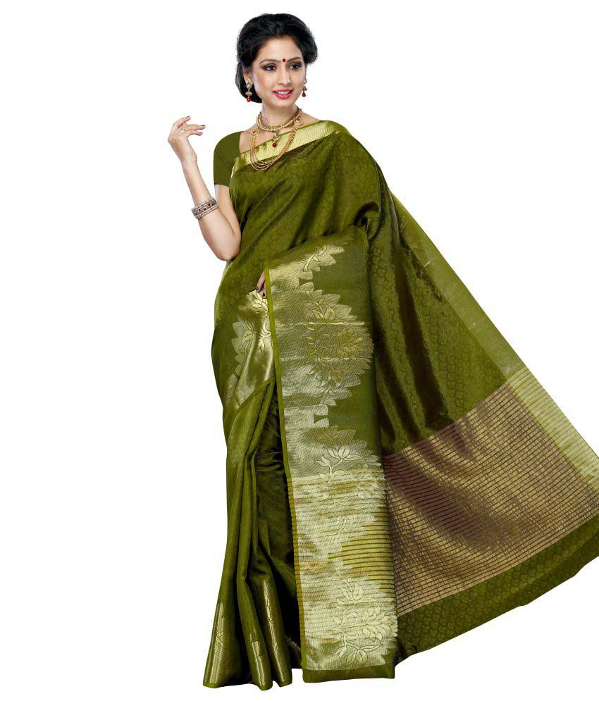 9dc7b396ba Mimosa Green and Brown Tussar Silk Saree - Buy Mimosa Green and Brown Tussar  Silk Saree Online at Low Price - Snapdeal.com
