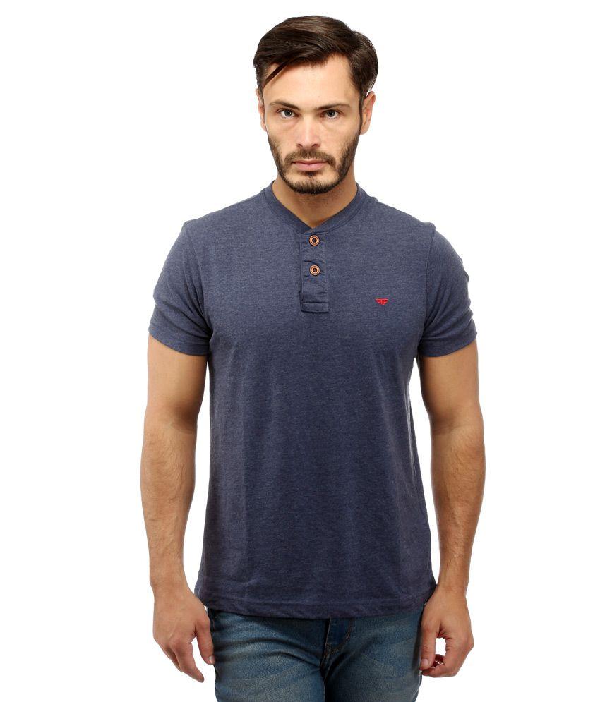 Red Tape Navy Henley Neck T Shirt