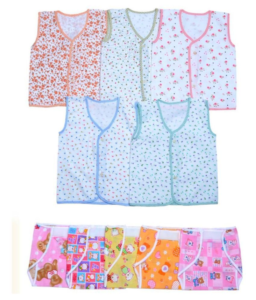 Sathya Multicolor Cotton Top with Nappy - Pack of 10