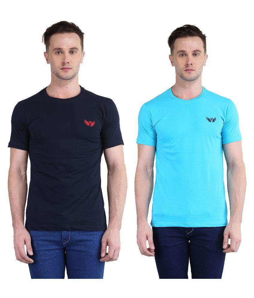 Bravezi Blue Round T Shirt Pack of 2