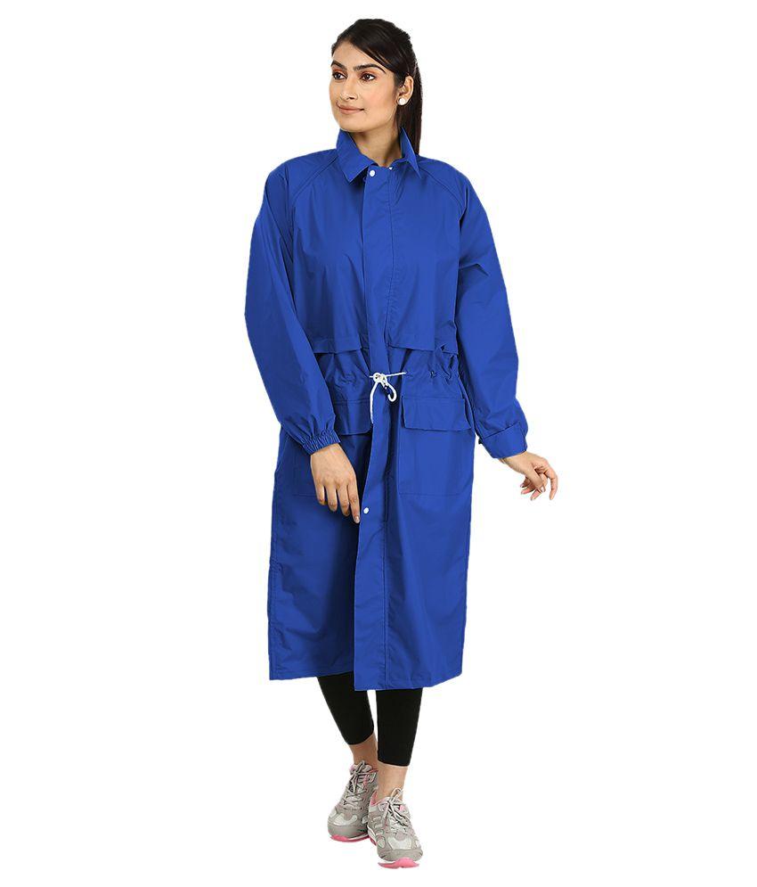 Rainfun Blue Waterproof Nylon Long Raincoat