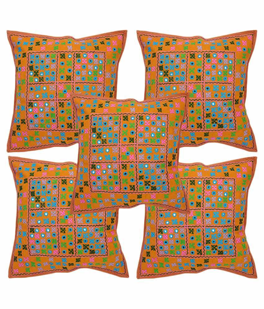 Rajrang Set of 5 Silk Cushion Covers