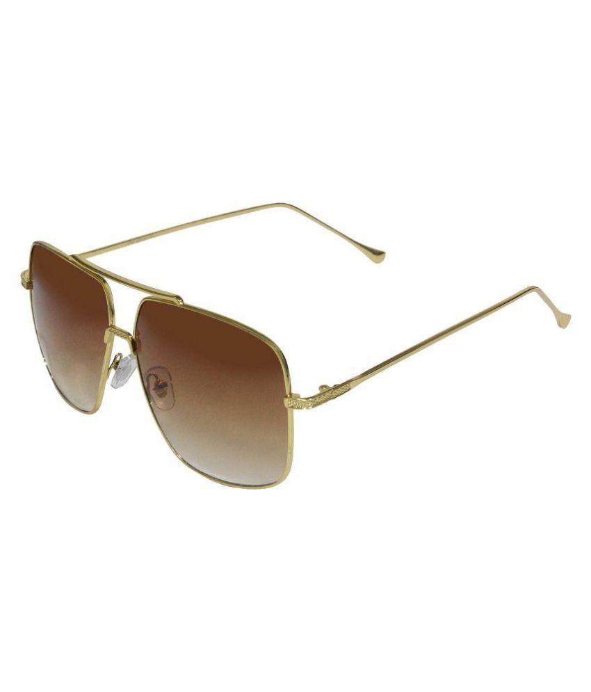 Aligatorr Brown Rectangle Sunglasses ( 7852 )