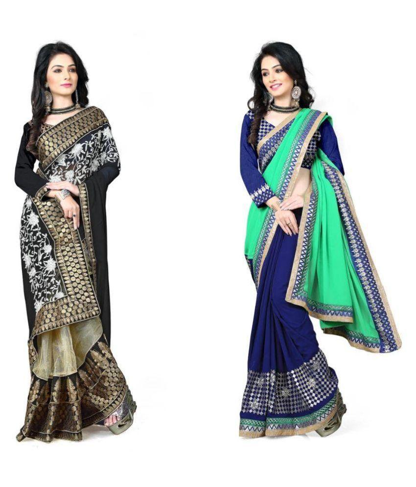 Bhavya Trendz Multicoloured Chiffon Saree Combos