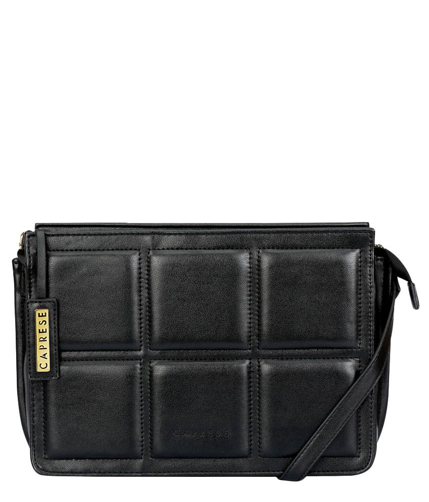 Caprese Black Faux Leather Sling Bag