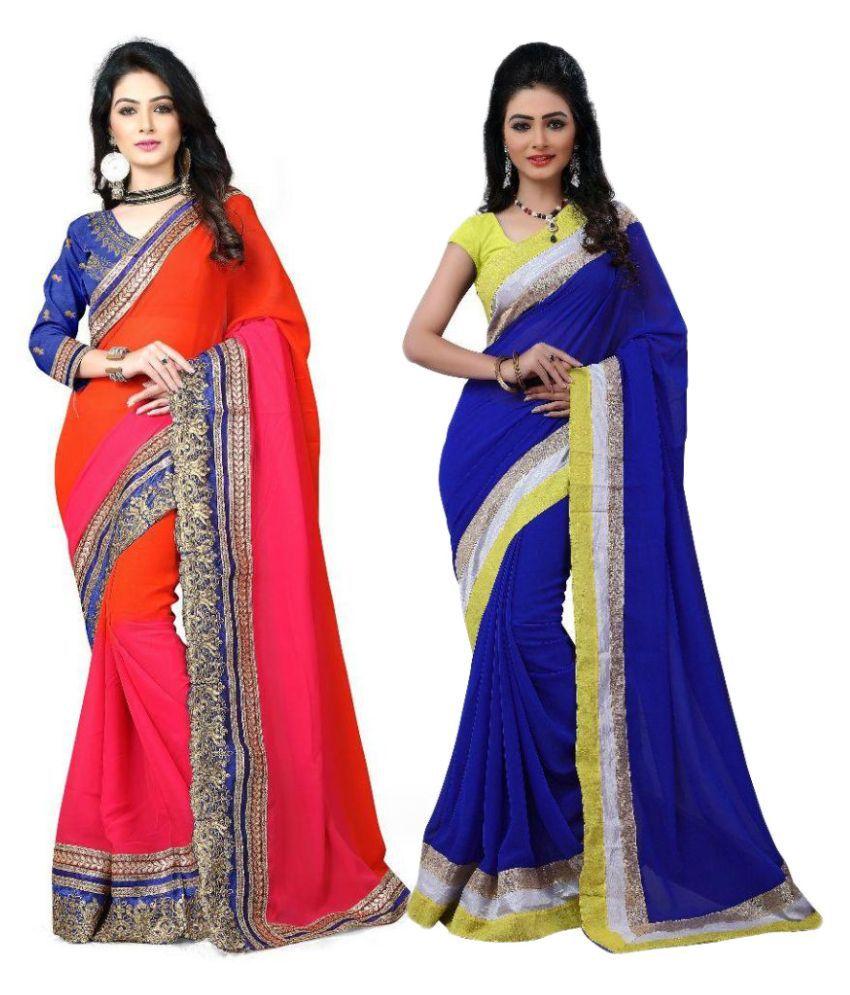 Krishna Creation Multi Color Chiffon Saree Combos