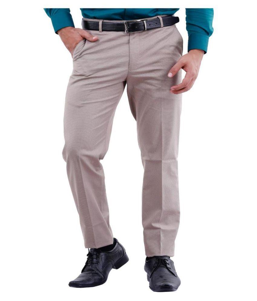 La Mode Beige Slim Fit Chinos
