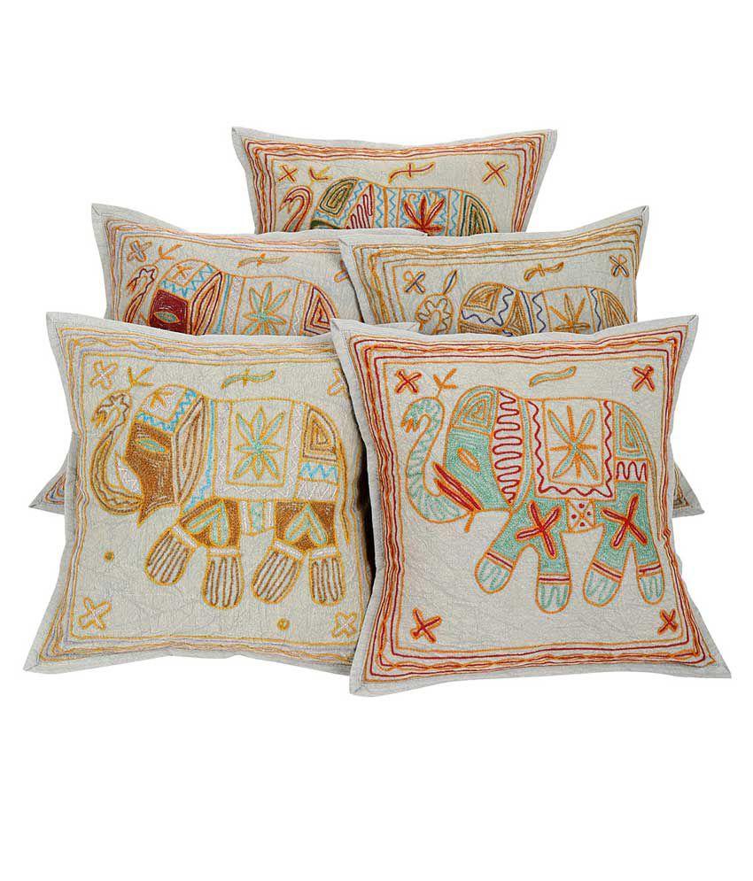 Rajrang Multicolor Cotton Cushion Cover - Set of 5