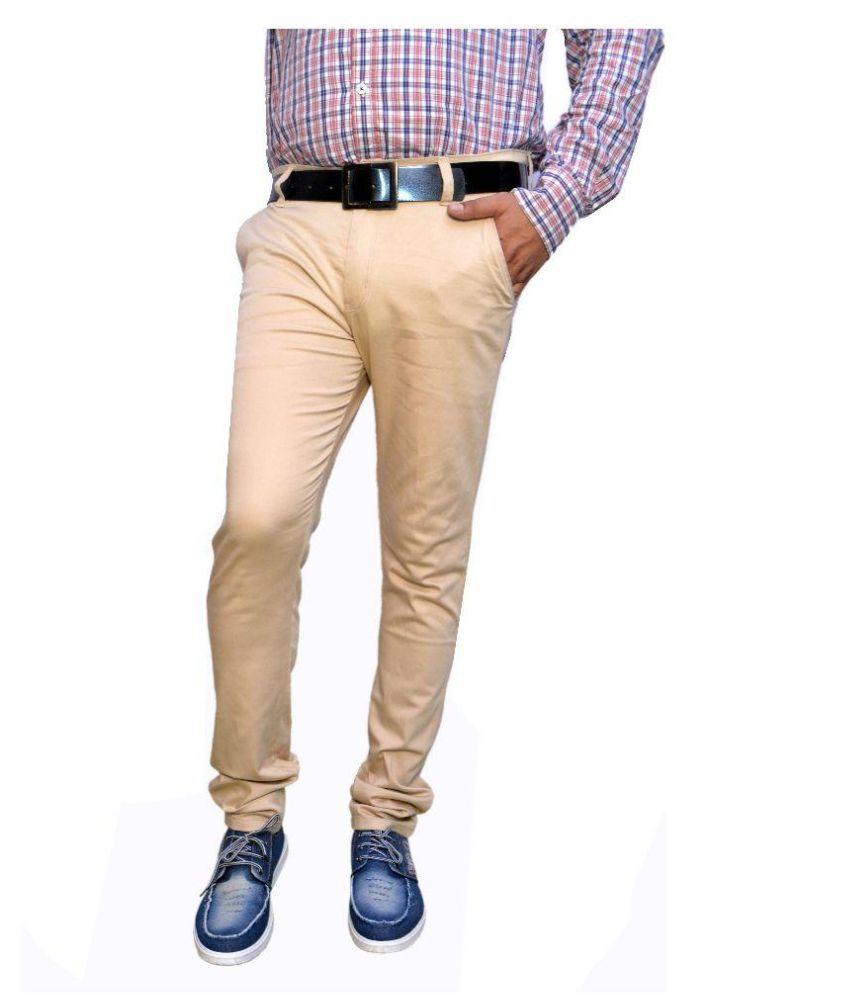 Radex Beige Slim Fit Flat Trousers
