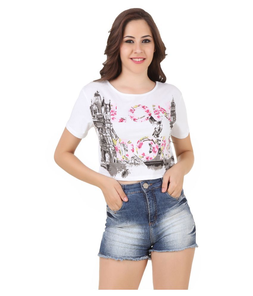 Buy Spunk White Cotton Tops Online at Best Prices in India ...
