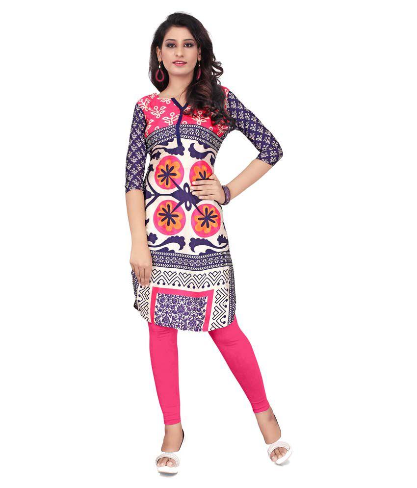 Divine India Multicoloured Georgette Straight Kurti