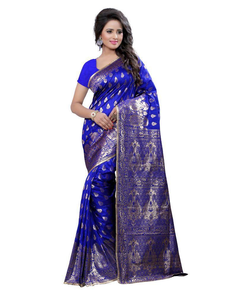 Seemore Blue and Purple Art Silk Saree