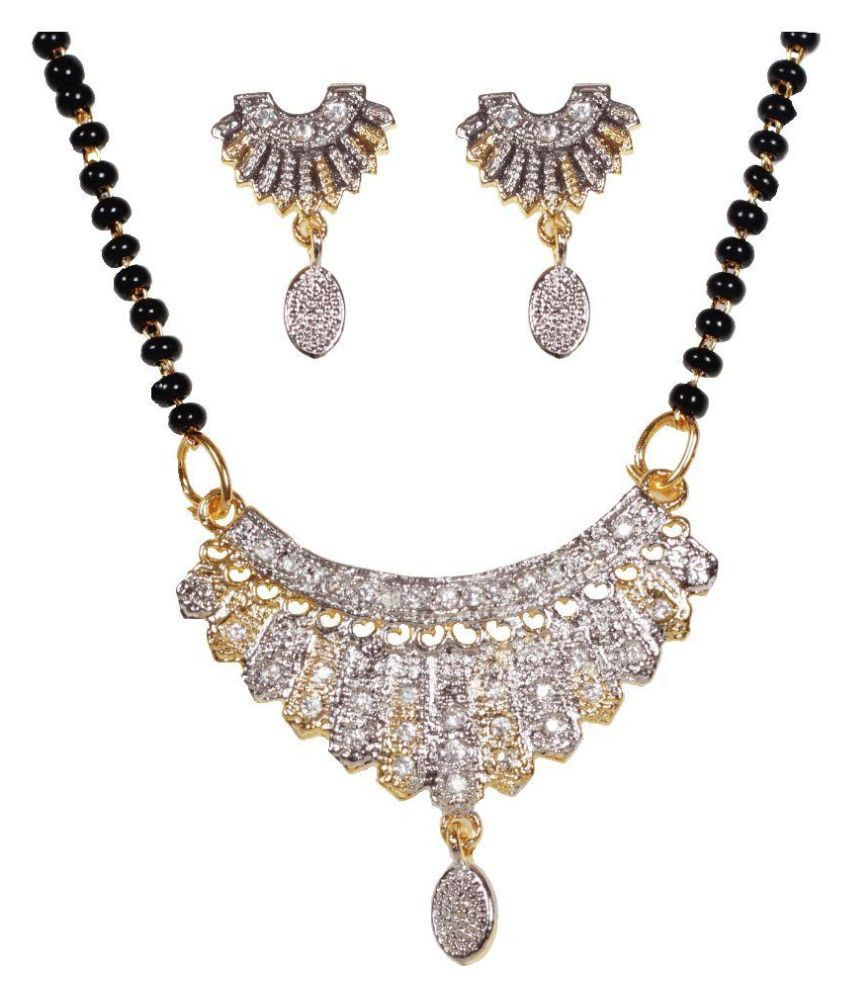 Utsav Fashion Alloy Rhodium Plating American diamonds Studded Multi Coloured Mangalsutra