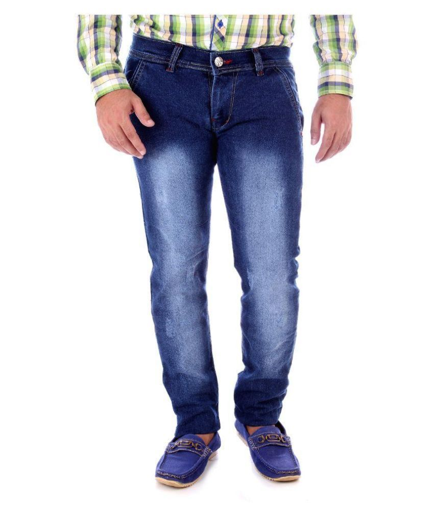 Zosh Blue Regular Fit Washed Jeans