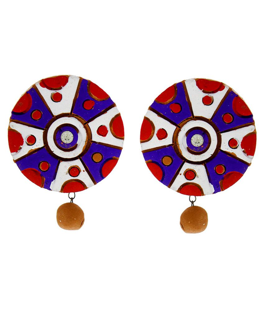 Anuradha Art Terracotta Studded Multi Coloured Earrings