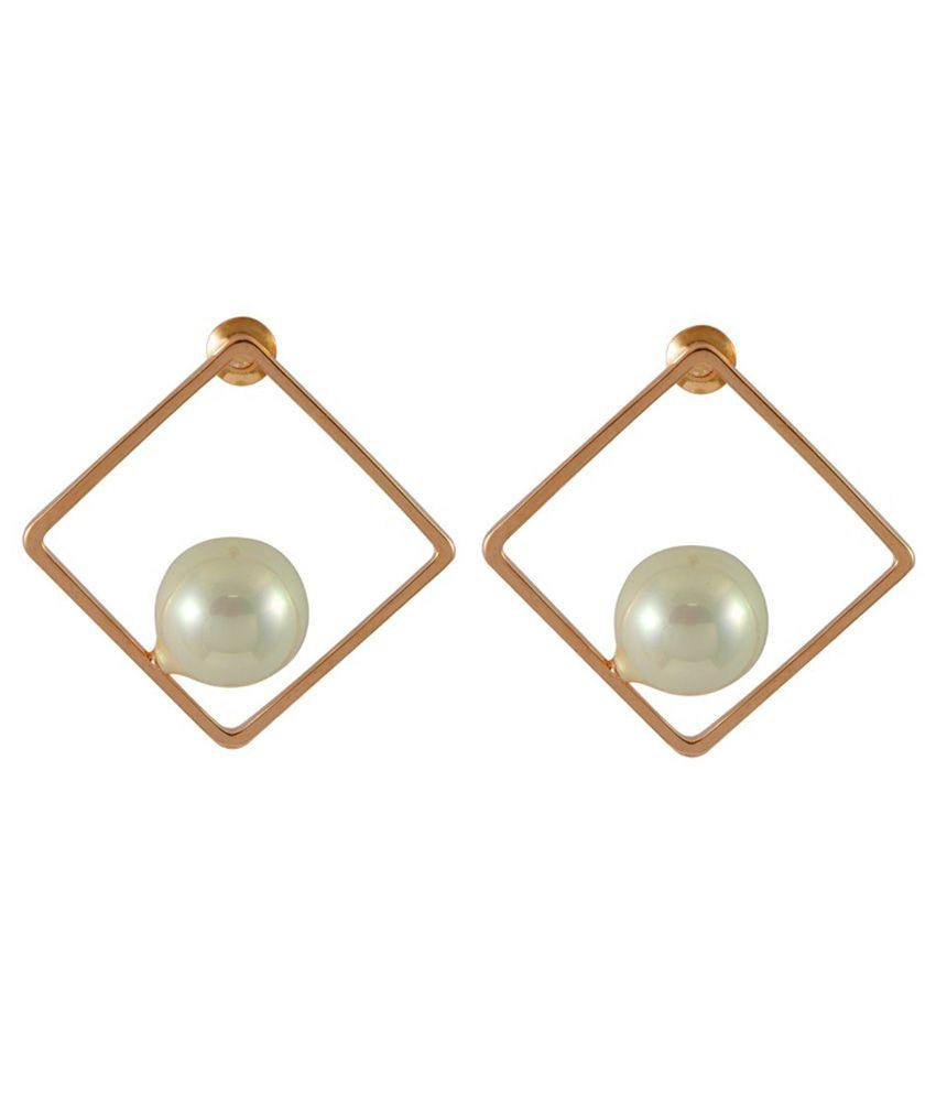 Sarah Alloy Studded White Coloured Earrings