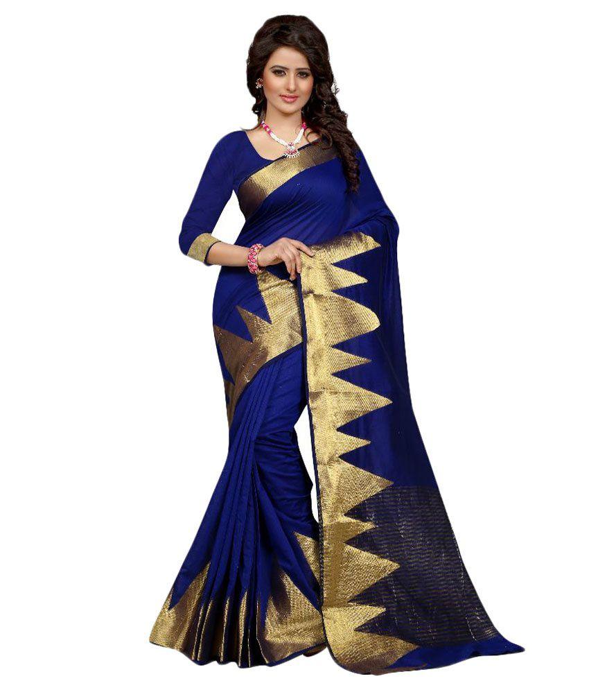 Greenvilla Designs Blue and Beige Cotton Saree